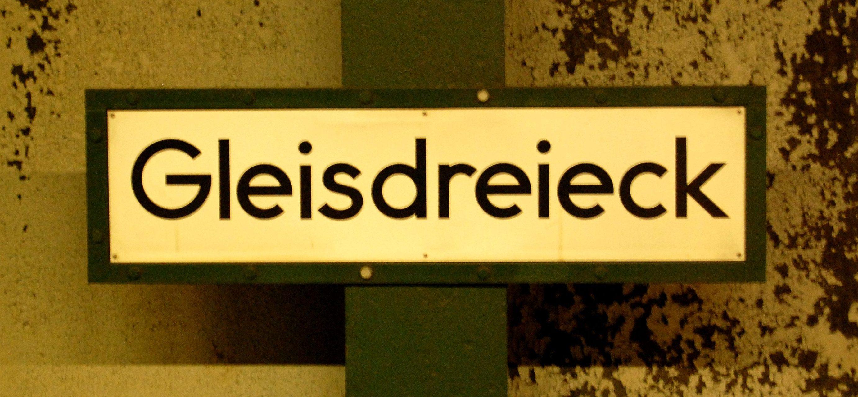 U-Bf Gleisdreieck - Schild, alt